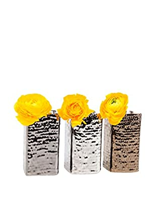 Chive Set of 3 Weave Vases, Silver/Bronze/Gunmetal