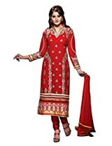 Dashing red georgette salwar suit with embroidery work