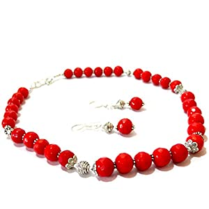 Daamak Jewellery Red Beads Necklace Set