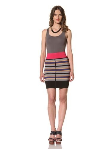 Cut25 Women's Stripe Techno Knit Skirt (Raspberry Multi)