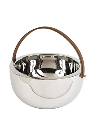 Sidney Marcus Boca Bowl with Leather Handle, Silver