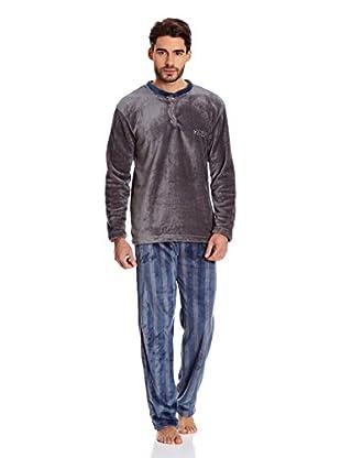 Muslher Pijama Caballero Cuello Pico Rapport (Azul Marino)