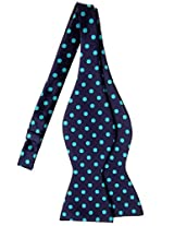 Retreez Classic Polka Dots Woven Microfiber Self Tie Bow Tie - Navy Blue with Emerald Green Dots
