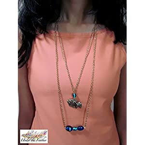 Under the Feather Layered Necklace- Bronze Fish