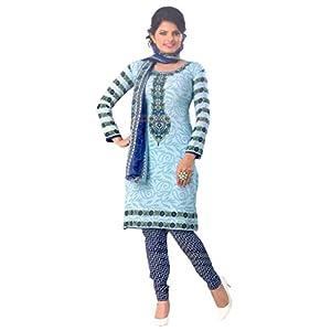 SGC- Blue Synthetic unstitched churidar kameez with dupatta- P-1505