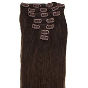 15 Clip In Remy Human Hair Extensions 2# Dark Brown 7Pcs 70G