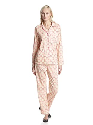 BedHead Pajamas Women's Geo Aqua Classic Notch Collar PJ Set (Pink)