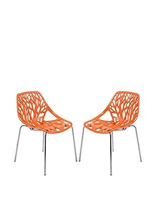 LeisureMod Set of 2 Modern Asbury Dining Chairs With Chromed Legs, Orange