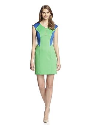 Chetta B Women's Scuba Zipper Dress (Green/Royal)