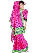 Zoom Embroidered Saree (Dark Pink)