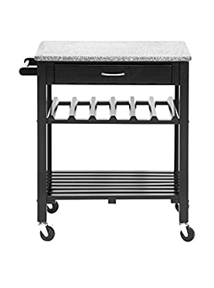 Baxton Studio Quebec Modern Kitchen Cart With Granite Top, Black