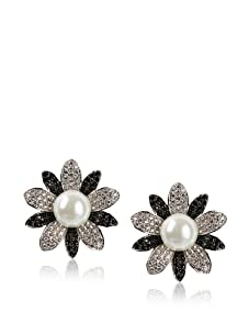 CZ by Kenneth Jay Lane Floral Clip-On Earrings, Silver/Black
