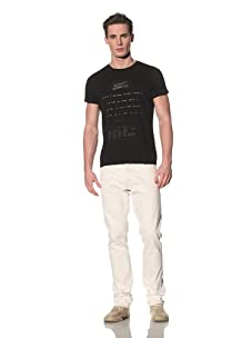 Tee Library Men's Morse Code Crew Neck T-Shirt (Black)