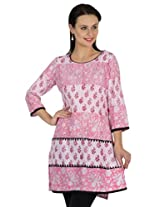 Sohniye Block Printed Cotton Kurta-Pink Color