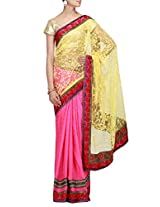 Kalki Fashion Half and half saree in yellow and pink with embroidered border