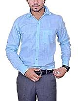 Mc-John Mens Linen Formal Shirt -Sky Blue -Large
