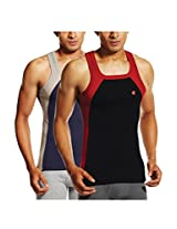 ONN NS523 Men's Assorted Cotton Sports Vest Pack of 2 (Small)