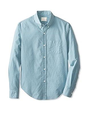 Band of Outsiders Men's Seersucker Check Long Sleeve Shirt (Green Spruce)