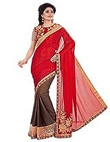 Inddus Women Red & Brown Half & Half Bridal Saree