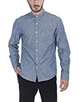 Zobello Men's Mandarin Collar Slub Denim Shirt(11070A_Dark Denim Blue_XX-Large)