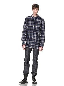 EDUN Men's Rumpled Button-Up Plaid Shirt (Petrol)