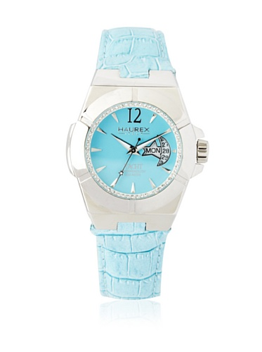 Haurex Italy Women's 8A340DT1 Yacht Lady Turquoise Leather Date Watch