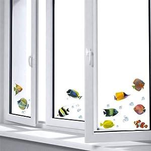 Home Decor Line Fishes Wall Stickers - Multicolor- 64004