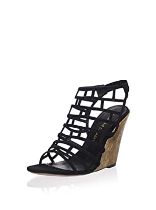 Jean-Michel Cazabat Women's Pia Wedge Sandal (Black Suede/Gold)