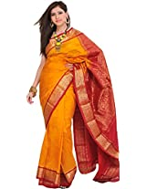 Exotic India Golden-Glow Handloom Saree from Bangalore with Woven Paisl - Yellow