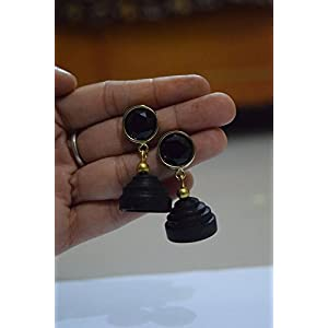 Quillings by SSE - Plain Black Jumka Earring
