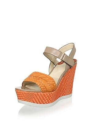 Joan & David Women's Idona Platform Wedge Sandal (Light Orange/Tan)