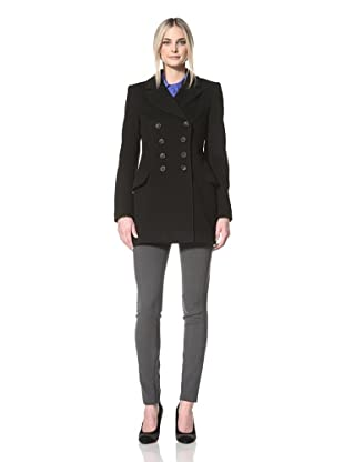 Nicole Miller Women's Fitted Dropped Waist Pea Coat (Black)