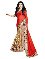 Shoppingover Party Wear Latest Saree in Beige with Red Color