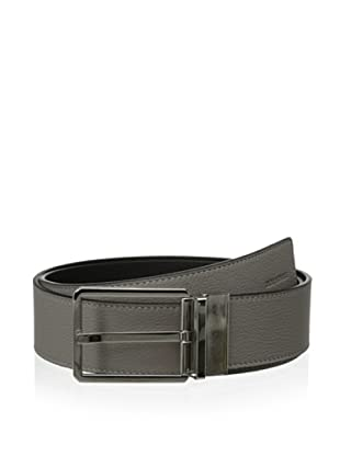Dior Men's Reversible Pebbled Leather Belt (Beige/Black)