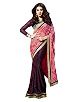 Roop Kashish Georgette Satin Chiffon Saree With Border Saree(10818_Purple And Pink)