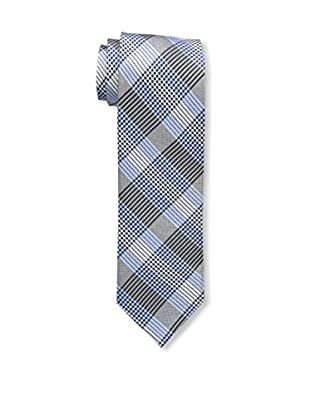 Bruno Piattelli Men's Plaid Tie, Silver Blue