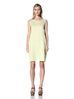 JIL SANDER NAVY Women's Sleeveless Belt Backstriped Dress (White/Yellow)