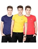 Basics Casual Plain 100% Cotton Muscle T.Shirts (Pack Of 3)