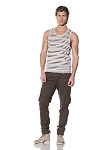 Shades of Grey by Micah Cohen Men's Striped Tank With Tiered Hem (Blue Grey Stripe)