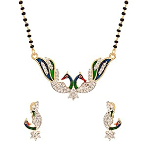 Voylla Mangalsutra Set With Peacock Inspired Pendant With Flawless Enamel Work