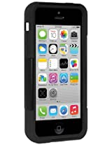 Amzer 96677 Double Layer Hybrid Case with Kickstand - Black/ Black for iPhone 5C