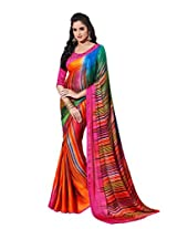 Rajnandini Multicolor Bemberg Poly Georgette Digital Print Saree With pure heavy silk border & pure heavy Silk Unstitched blouse
