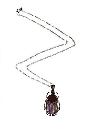 bimba & lola collar escarabajo niquel antiguo