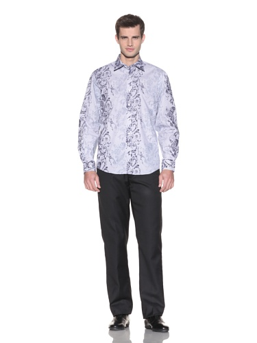 Report Collection Men's Flocked Button-Up Shirt (Indigo)