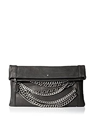 ASH Women's Domino Chain Clutch, Black/Tarnish Silver