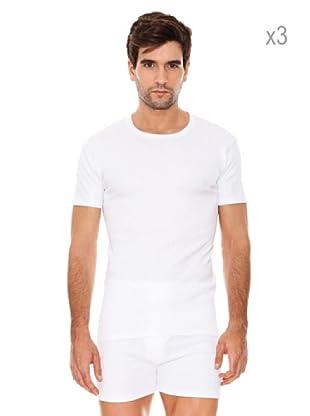 ABANDERADO Pack x 3 Camisetas Manga Corta Invierno Caballero (Blanco)