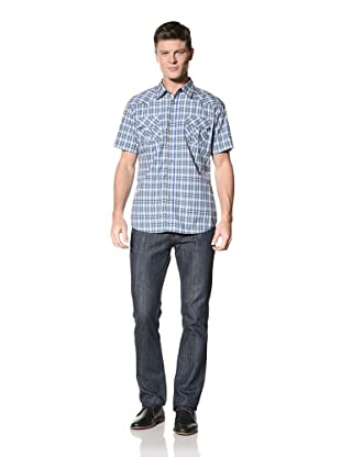 ONE90ONE Men's Frustrated Short Sleeve Plaid Shirt (Blue)