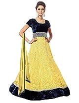 Clickedia Women Velvet & Net Yellow madhubala suit - Dress Material
