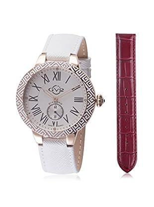 GV2 Women's Astor Enamel Burgundy/White Leather Watch