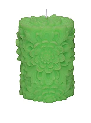Volcanica Dendritic Small Pillar Candle, Lime